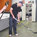 Dany Heatley holds the new Easton S19 hockey stick