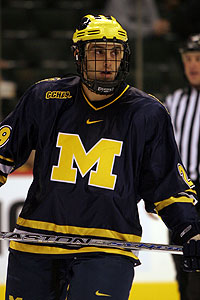 Michigan forward Louie Caporusso hopes to lead the Wolverines to the Frozen Four at Ford Field in April.
