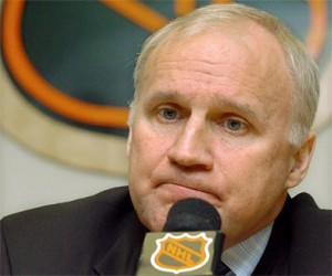 Colin Campbell looks stumped, just as Boston and NHL fans are about the non disciplinary action against Matt Cooke and his head shot to Bruins Marc Savard.