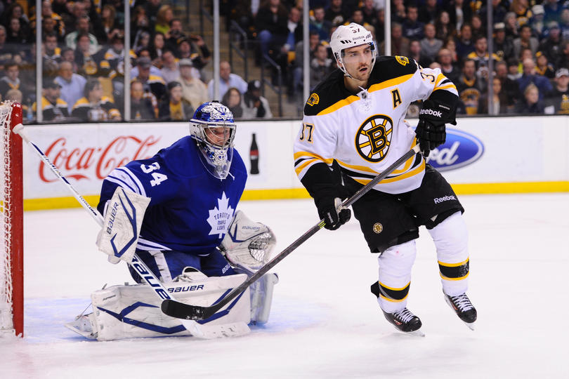 Patrice Bergeron using the Reebok Ribcor Stick