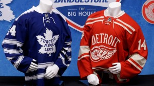 The uniforms the Red Wings and Maple Leafs will wear in the 2014 Winter Classic.