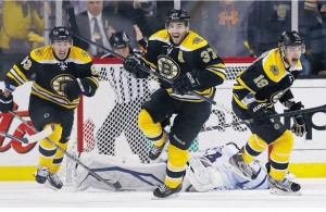 Bergeron, Marchand and Seguin Celebrate Boston's OT Winner against Toronto