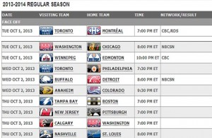 NHL Releases Schedule; Will Send Players to Sochi