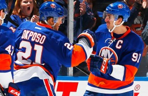 John Tavares and Kyle Okposo of the New York Islanders