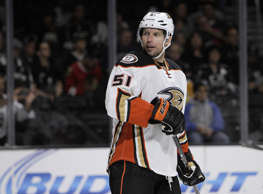 LOS ANGELES, CA - SEPTEMBER 24, 2014: Anaheim Ducks left wing Dany Heatley (51) questions an official during the game against the Kings at Staples Center on September 24, 2014 in Los Angeles, California.(Gina Ferazzi / Los Angeles Times)