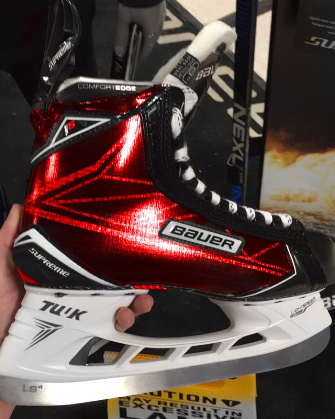 Custom Red Bauer Supreme 1S Skates – Hockey World Blog