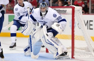 Oct 5, 2013; Chicago, IL, USA; Tampa Bay Lightning goalie Ben Bishop (30) tends net against the Chicago Blackhawks during the second period at the United Center. Mandatory Credit: Rob Grabowski-USA TODAY Sports