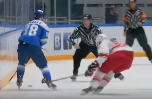 KHL Linesman Delivers Huge Hit